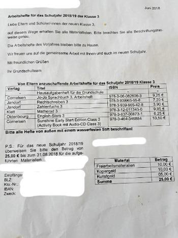 Schule Deutschland Materialliste